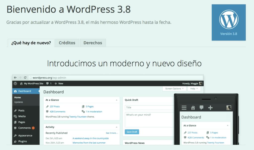 Bienvenida Wordpress 3.8